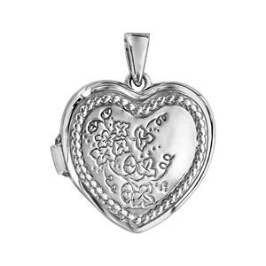 1001 Bijoux - Pendentif argent rhodié cassolette forme coeur motif fleur pas cher