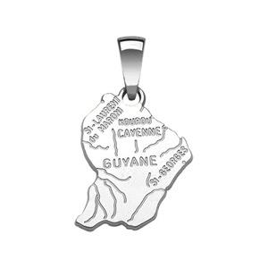 Image of Pendentif argent rhodié carte guyane très grand modèle