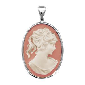 Image of Pendentif argent rhodié camée ovale grand modèle 18x25mm rose et blanc