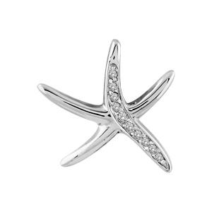 1001 Bijoux - Pendentif argent rhodié étoile de mer pierres blanches pas cher