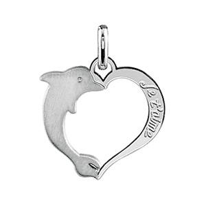 1001 Bijoux - Pendentif coeur en argent rhodié avec dauphin pas cher
