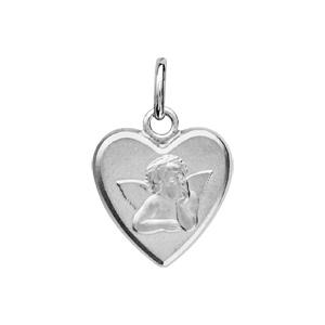 Médaille Argent rhodié forme coeur ange 3d 14x12mm