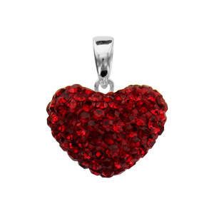 Pendentif Argent coeur bombe strass rouges