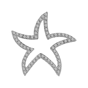 1001 Bijoux - Pendentif argent rhodié étoile de mer ajourée pierres blanches pas cher