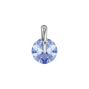 1001 Bijoux - Pendentif argent rhodié rond pierre bleue pas cher