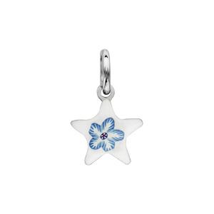 Image of Pendentif argent rhodié étoile blanche motif fleur bleue