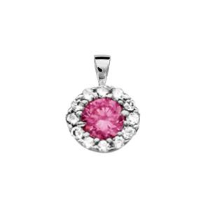 1001 Bijoux - Pendentif argent rhodié pierre centrale rose foncé avec contour oxydes blancs pas cher