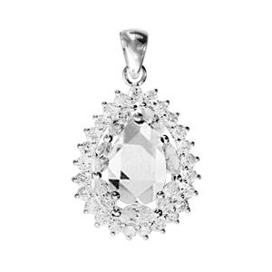 1001 Bijoux - Pendentif argent rhodié forme poire pierre centrale blanche contour oxydes sertis blancs pas cher