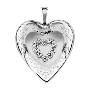 Image of Pendentif cassolette coeur argent rhodié