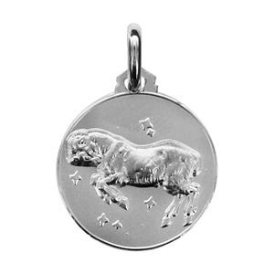 Médaille Argent rhodié zodiaque bélier
