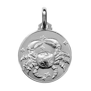 Médaille Argent rhodié zodiaque cancer