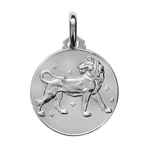 Médaille Argent rhodié zodiaque lion