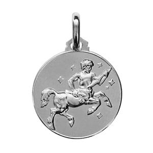 Médaille Argent rhodié zodiaque sagittaire