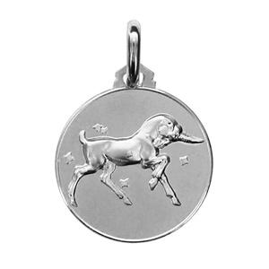 Médaille Argent rhodié zodiaque capricorne