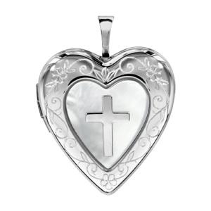 Image of Pendentif cassolette coeur avec croix argent rhodié