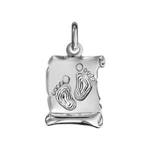 Image of Pendentif parchemin argent rhodié petit modèle empreintes de pieds
