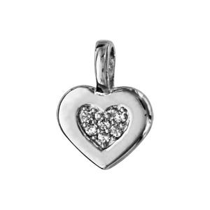 1001 Bijoux - Pendentif argent rhodié coeur oxydes blancs sertis pas cher