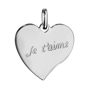 1001 Bijoux - Pendentif argent rhodié coeur gravé je t'aime pas cher