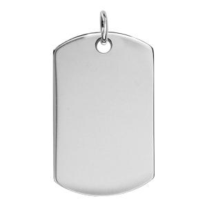 1001 Bijoux - Plaque GI argent pans arrondis avec bélière pas cher