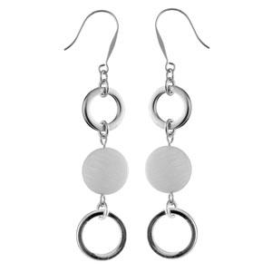 Boucles D'oreilles pendantes en acier 2 anneaux et 1 pastille en nacre blanche véritable intercalée et fermoir crochet