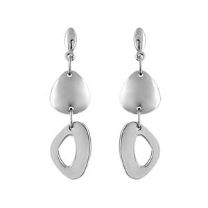 Boucles D'oreilles pendantes en acier triangle arrondi lisse et triangle arrondi troué suspendu et fermoir tige à poussette