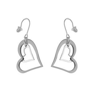Boucles D'oreilles pendantes en acier 2 coeurs découpés 1 gros et 1 petit et fermoir crochet