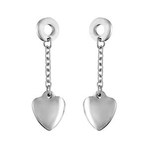 Boucles D'oreilles pendantes en acier disque avec chaînette et coeur lisse à l'extrémité et fermoir tige à poussette