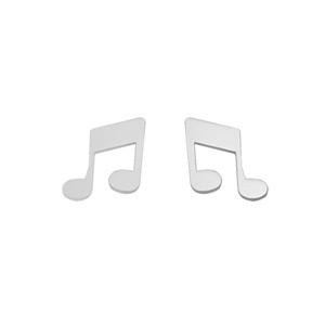Boucles D'oreilles en acier note de musique lisse et fermoir tige à poussette