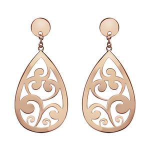 Boucles d 39 oreilles pendantes en acier et pvd rose goutte for Interieur oreille