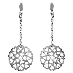 Boucles D'oreilles pendantes en acier chaînette avec rond fait en coeurs acollés et fermoir tige à poussette
