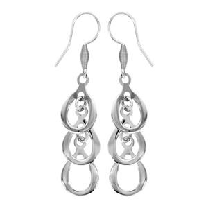 Boucles D'oreilles pendantes en acier 3 gouttes suspendues et fermoir crochet