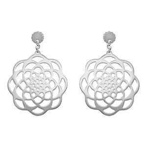 Boucles D'oreilles pendantes en acier rosace en forme de fleur et fermoir tige à poussette