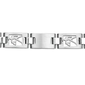 bracelet en acier alternance de maillons lisses et maillons avec zodiaque de la balance d coup. Black Bedroom Furniture Sets. Home Design Ideas
