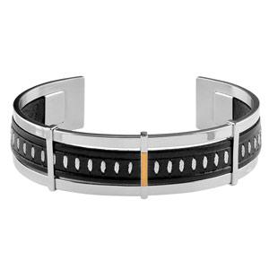 Bracelet Acier cuir noir et blanc 3 barettes dont 1 en or