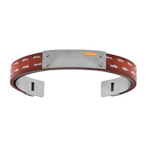 Bracelet Acier cuir marron plaque acier 4 pastilles lisses et barrette or