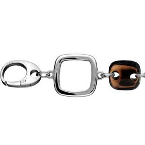 Bracelet Acier et brun femme