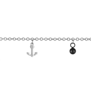 Bracelet Acier ancre + boule noire 18cm