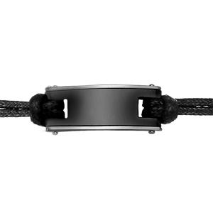 Bracelet en acier cordon doublé en coton noir avec 1 plaque en céramique noire au milieu - longueur 17cm + 2cm de rallonge