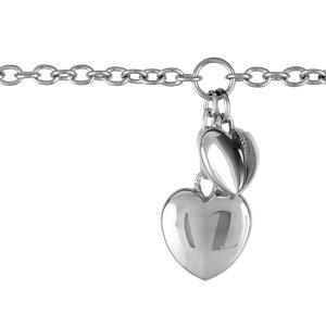 Bracelet Acier 2 gros coeur en breloques réglable 17+4cm
