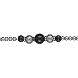 Bracelet Acier boules et céramiques noires réglable 18+2cm