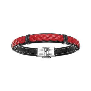 Bracelet en cuir noir avec tresse en cuir rouge et éléments en acier - longueur 20cm réglable