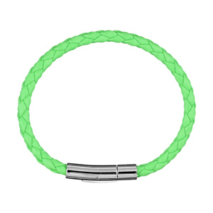 Bracelet Fermoir acier tresse 5mm vert fluo 19cm
