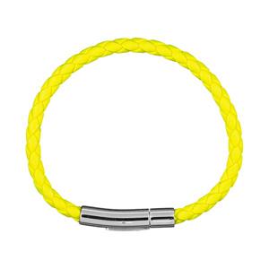 Bracelet Fermoir acier tresse 5mm jaune fluo 19cm