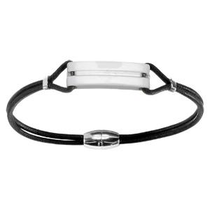 Bracelet Acier corde noire plaque résine blanche fermoir aimanté 19,5cm