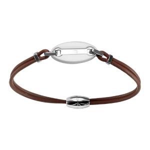 Bracelet Acier cordon marron plaque ovale résine blanche fermoir aimanté 19,5cm