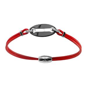 Bracelet Acier cordon rouge plaque ovale résine noire fermoir aimanté 19,5cm