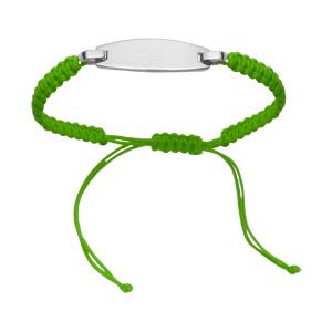 Bracelet Acier corde coulissante vert fluo plaque à graver