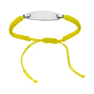 Bracelet Acier corde coulissante jaune fluo plaque à graver