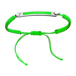 Bracelet Acier corde coulissante fine vert fluo plaque à graver couleur