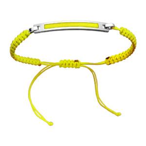 Bracelet Acier corde coulissante fine jaune fluo plaque à graver couleur